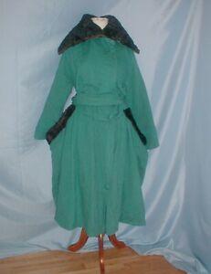 Antique Dress Coat Edwardian 1915 to 1920 Agua Blue Cashmere Fur Trim