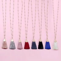 31'' Long Chain Gold Tone Silk Fan Fringe Tassel Pendant Necklace for Women