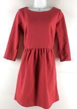 Ann Taylor Loft Dress Size 4 3/4 Sleeve Cotton Blend Red Jersey Knit Career