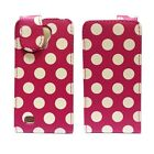SAMSUNG GALAXY S4 MINI i9190 POLKA DOT STYLE LEATHER FLIP POUCH CASE IN HOT PINK