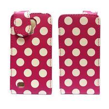 Funda para samsung Galaxy S4 Mini Lunares Plegable PU Cuero Rosa Fucsia Funda