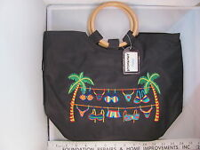 NWT Stowaway Pretty Black Zippered Beach Purse Bag Tote Tropical Bikini SH252