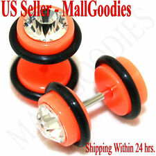 1168 Fake Cheaters Illusion Faux Ear Plugs 16G Bar Look 0G Neon Orange Clear CZ