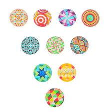 10 Mix Glas Cabochons Rund Bunt Kaleidoskop Blüten Muster 25mm