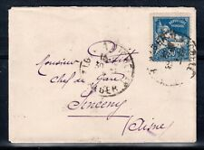 FRENCH ALGERIA = 1931 miniature cover, ALGIERS to `Station Master` SINCENY.
