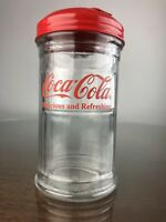 Vintage COCA-COLA Glass Sugar Shaker Jar Red Metal Lid Restaurant Style 1992
