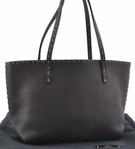 Authentic FENDI Selleria Mini Tote Shoulder Bag Leather Brown D1671