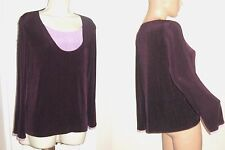 Free s/h CITIKNITS size Large L Layer Look TOP Purple w Lavender Insert bust 44