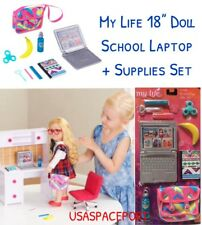 "18"" Doll SCHOOL LAPTOP Computer Case Books Set for My Life as American Girl Boy"
