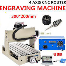 USB 4 Axis CNC 3020 Router Engraver Engraving Machine 3D WOOD Cutter Drilling