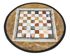 """24"""" Black Marble Chess Art Table Top Inlay Multi Cubes Mosaic Stone Decor H4584"""