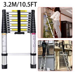 10.5FT Telescopic Extension Aluminum Step Ladder Folding Multi Purpose Ladders