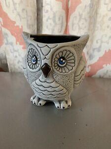 Gray Handmade And Handpainted Owl Planter