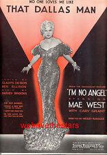 "I'M NO ANGEL Sheet Music ""That Dallas Man"" Mae West"