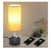 USB Bedside Table Lamp, Golspark Minimalist Nightstand Lamp with Charging Ports,