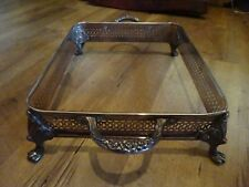 Silverplate Footed Rectangle Buffet Serving Tray 15.25 x 9.5 Ornate Handles