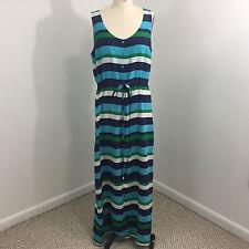 C Wonder Womens Maxi Dress Sz 10 Silk Stripe Blue Green Button Up Drawstring L17