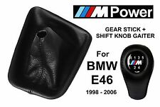 BMW E46 M POWER 5 SPEED SHIFT KNOB & GEAR STICK GAITER BOOT NATURAL LEATHER NEW