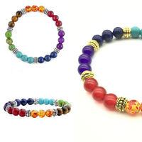 Valentinstag  Edelstein Armband Gummi-Armreif 7 Chakren Buddha-Hamsa-hand D0T3