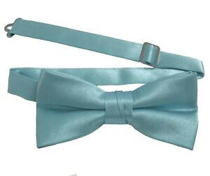 Boys Bow Tie Quality clip on adjustable neck band Satin Solid Pattern Colors