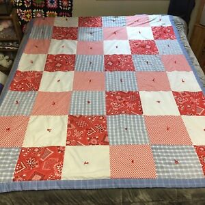 """Quilt Handmade Designer Patch Red White Blue USA Colors Batted 78x58"""" Full Size"""