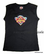HARLEY DAVIDSON Black Muscle Tank Top TATTOO HEART Print Shirt Womens SMALL S