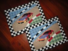 THE COMPANY STORE RACECAR BLUE BLACK CHECKERED FLAG (2) PILLOW SHAMS STANDARD