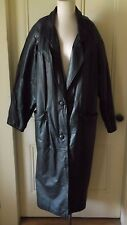 BB Dakota Leather Maxi Motorcycle Biker Duster Long Trench Coat Womens L Korea