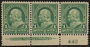 VINTAGE Lot of 3 U.S. 1898 I Cent Franklin Stamps Scott# 279 - Plate# 440