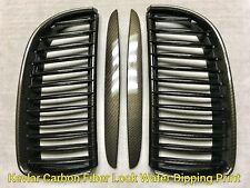 Water Dip Carbon Fiber Print Front Nose Grilles Grille FOR 06-08 E90 330i 335i