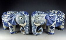 Pair of China Antiques Blue&White Porcelain Elephant Statues with Flower Deco