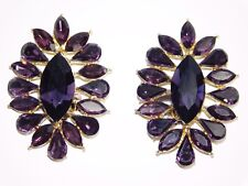 Crystal Bridal Clip Earrings Gold Purple Amethyst Rhinestone Marquise