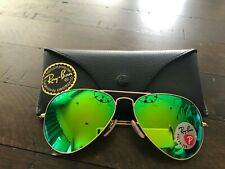 RAY BAN RB3025 112/P9 Aviator Gold Green Mirror Polarized 58 mm Sunglasses
