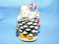 Vintage Christmas Pine Cone Figure Celluloid Head Tree Decoration Ornament