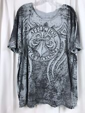 Mens Affliction White Black  Graphic T Shirt Fedor Arlovski Day of Reckoning 2XL