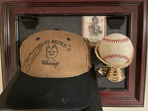 RARE Mike Ditka Signed Hat and Baseball w/Chicago Bears Logo Display Case