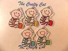 5 cute in legno multicolore Baby & Bottiglia 2 fori pulsanti cucito carta 30 mm x 20 mm