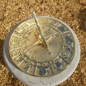 Solid Brass Zodiac Signs Astrological Sundial - Large
