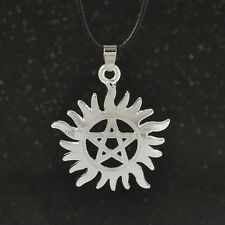 Supernatural Dean Anti-Possession Pentagram Hide Rope Silver Pendant Necklace~