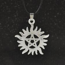 Supernatural Dean Anti-Possession Pentagram Hide Rope Silver Pendant Necklace