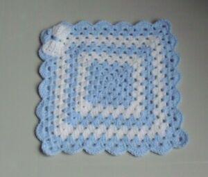 New Hand Crochet Baby Boys/Girls Blue & White Comforter/Security Blanket