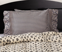ELYSEE Standard Pillow Case Set/2 Black/Creme French Country Stripe VHC Brands