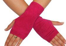"Silk Cashmere knit Fingerless warm Gloves Fuchsia Pink 8"" long OneSize Unisex"