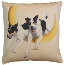 Agility Jack Russell Dog Quality Cream or White Cotton Cushion Cover with Zip