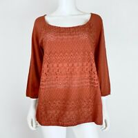Lucky Brand Size XL Blouse Top Schiffli Eyelet Front 3/4 Sleeve Rusty Brown