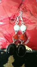 Coral Tibetan Silver Stone Costume Earrings