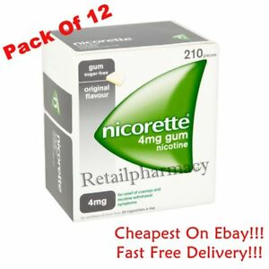 Nicorette Gum Original Flavour 4mg  of 210 gum available in 12 pack 10/2023