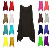 WOMENS HANKY TOP LADIES PLUS SIZE VEST HEM FLARED 14 16 18 20 22 24 26 SWING TOP