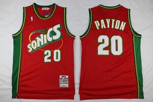 Seattle Supersonics Gary Payton Mens red swingman jersey-stitched size S-2XL