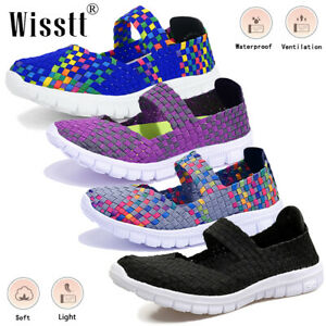 Summer Womens Mom Flats Casual Running Shoes Mesh Breathable Sneakers Plus Sizes